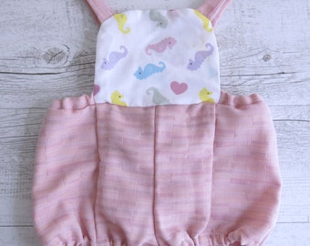 Seahorse Print Pink Overalls Baby Cute Baby Outfit Baby Overalls Clothing Sea Horse Pattern