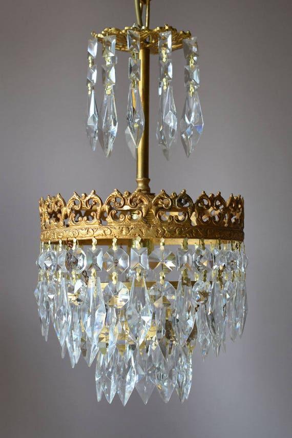Solid Brass Lustre Antique French Vintage Crystal Chandelier