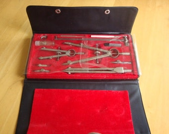 REDUCED  Vintage GEOTEC Precision Compass Drafting Tool Set #322-9001
