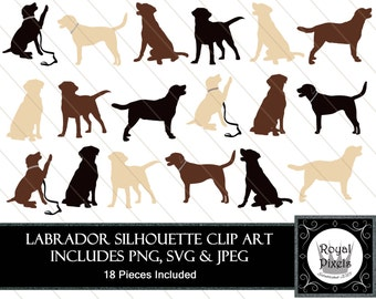 Labrador Silhouette Clip Art - 18 Pieces - Golden Brown Black Dog Silhouette - 7 inches - Instant Download - Printable - JPEG, SVG & PNG #79