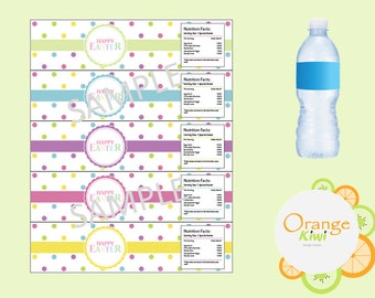 Polka Dot Happy Eater Water Bottle Labels, Happy Easter Water Bottle Wraps, Waterproof Labels, Colorful Easter Party Decor