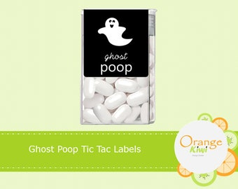 Ghost Poop Tic Tac Labels, Halloween Tic Tac Labels, Happy Halloween Tic Tac Labels, Halloween Stickers, Ghost Stickers