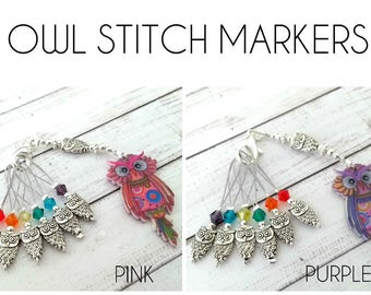 owl stitch markers - bird non snag place keepers - set of six beaded stitchmarkers with holder - purple or pink