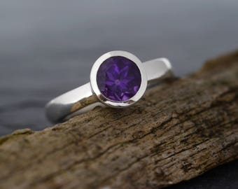 Amethyst Ring in 925 Sterling Silver-Amethyst Solitaire Engagement Ring-Stackable Ring-FREE SHIPPING-Ready to Ship