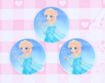 10% OFF SALE 6 x ANIME Elsa Frozen 30mm Flat Back Cabochon Embellishments Deco Kawaii Craft