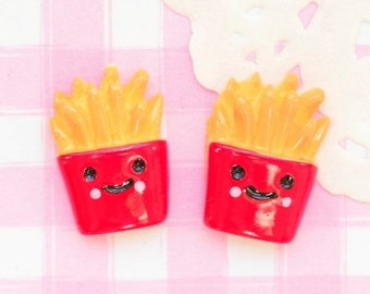 10% OFF SALE 6 x French Fries Chips Character Flat Back Kawaii Cabochons Decoden
