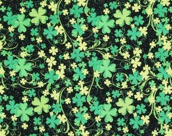 IRISH SHAMROCK FABRIC ! 1/2 Yard For Quilting / St Patricks Day - Four Leaf Clover - Green - Glitter!