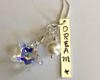 Sterling Silver 'Dream'Necklace with Swarovski Charm and Swarovski Pearl.