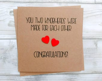 "Handmade funny rude ""Knobheads"" Congratulations card - engagement, wedding, new home - can be personalised"