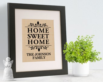 Home Sweet Home Printed on BURLAP - With  Personalized LAST Name