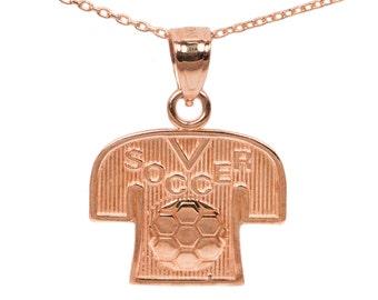 14k Rose Gold Soccer Necklace