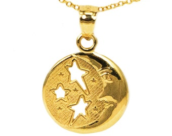14k Yellow Gold Round Moon with Stars Pendant Necklace