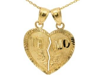14k Yellow Gold Te Amo Heart Necklace