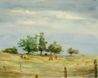 """ORIGINAL Watercolor Summer Landscape Painting-Country Pasture with Trees and Cows-Small 7""""x10"""" Artwork"""