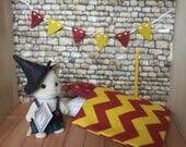 Reserved for Ambre - Miniature Gryffindor bedding for dollhouse  - 7 pieces set Sylvanian Families x Hogwarts