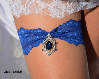 Blue Garter, Blue Wedding Garter, Rhinestone Garter, Lace Garter Set, Blue Bridal Garter, Royal Blue Garter, Lingerie Garter, Something Blue