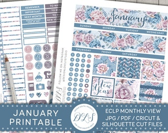 January Monthly Stickers Kit, January Monthly View Kit, Planner Stickers January, for Erin Condren Life Planner, New Year Planner, MV115