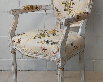 Gold & Ivory French Shabby Chic Chair gold thread design