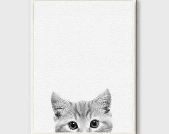 Kitten Print, Cat Photo, Printable Wall Art Gift, Cute Baby Animal, Nursery Decor, Black and White, Animal Photography, Grey White, Modern