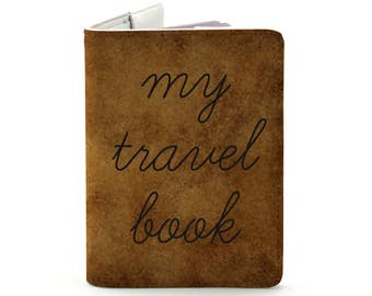 My Travel Book - Personalized Passport Cover/Holder - Travel Passport Cover - High Quality Handmade Leather | TG-PAS-009