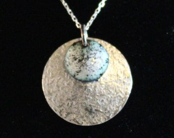 Etched Silver Pendant with Enameled Overlay  (022017-017)