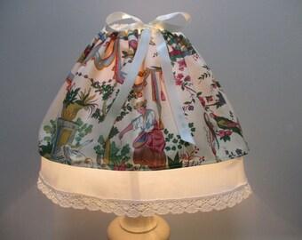 PETTICOAT of LAMPSHADE, toile de Jouy colorful - handmade
