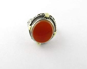 Vintage 14K White Gold Carnelian Ring #1577