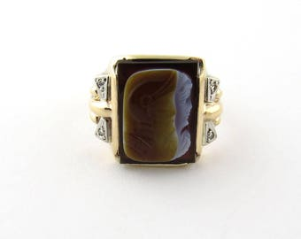 Vintage 10K Yellow Gold Men's Cameo Roman Warrior Ring with Diamonds #402