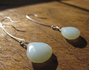 Green-blue chalcedony drop earrings