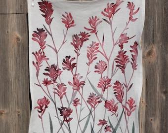 Tea Towel, Linen, Kangaroo Paw, watercolour design, Australian Natives
