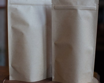 25 8oz/16oz Kraft Stand Up Resealable Barrier Pouches - protects from moisture, gas and odor - FDA & USDA compliant - Brown Craft Food Bags