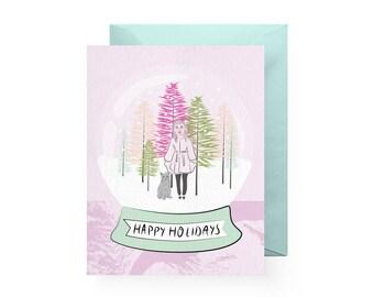 Happy Holidays Cat Snow Globe Card (Single Card or Set of 6)