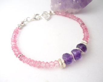 Amethyst Bracelet Pink Topaz Bracelet Beaded Jewelry Gemstone Heart Bracelet Gift for Her Heart Charm Bracelet Stackable Bracelet Layering