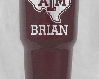 30 oz RTIC stainless or powdercoated maroon Texas A&M aggie cup personalized custom