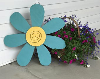 Turquoise Wooden Flower Door Hanger