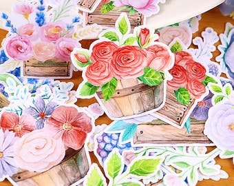 26pc floral pattern-  Japanese scrapbooking stickers