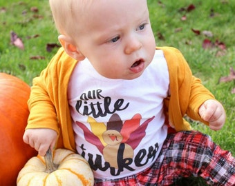 Our Little Turkey (front)  #Lil'Turkey (back) Great for Thanksgiving! Cute Turkey onesie or shirt, Lil' Turkey, choose color tee, see pics!