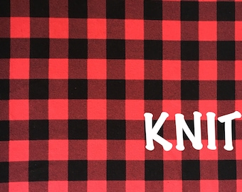 Red and Black Buffalo Plaid Knit Fabric 12oz