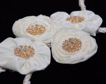 Handmade Ivory Satin Wedding Lazo with Gold Rhinestone Embellishments - Lazo de Boda; Wedding Lasso