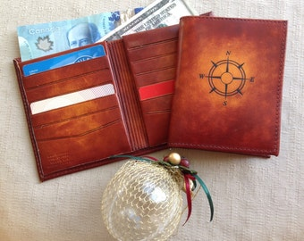 leather wallet, Horween leather,  12 credit card slots, Canadian made,hand dyed