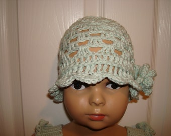 Toddler's Hand Crocheted Hat with a Matching Flower and Scalloped Edge in 'Blue Mint' 100% Cotton Yarn.
