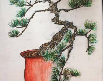 "Watercolour painting ""Bonsai"""
