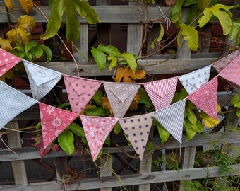 Pinks and taupes bunting, flags, garland or banner - fabric bunting, pennants baby shower