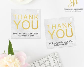 Marble Favor Tags, Marble Party Tags, Marble and Gold, Thank You Favor Tags, Square Favor Tags, Printable Gift Tags, Print Your Own, SH41