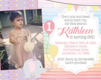 Rainbow Baby Elephant Invitation with Photo! Digital File. Print at Home.
