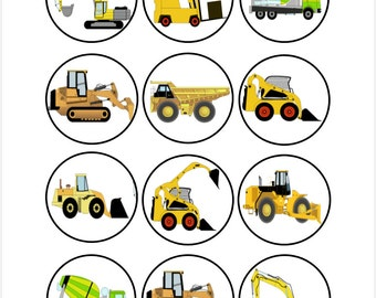 Edible Construction Vehicle Cupcake Cookie Toppers