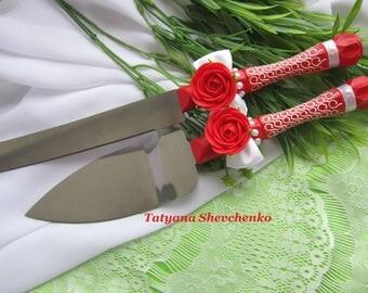 Personalized Wedding Cake Server Red. Cake Knife. Cake Cutting .Server red cake knife set of 2
