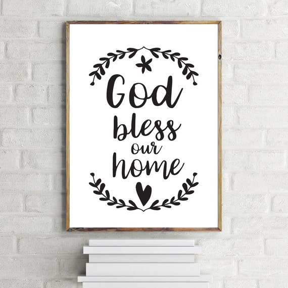god bless our home printable art wall decor typography