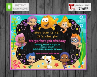 Printable invitation Bubble Guppies for girls in PDF with Editable Texts, Bubble Guppies Invitation chalkboard, edit and print yourself!