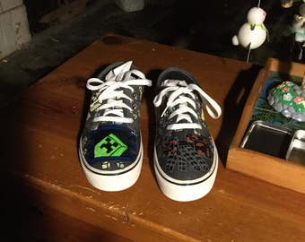 Hand Painted minecraft shoes
